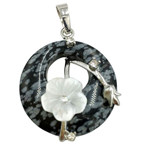 Jewelry58718 Fashion Round White Shell Flower Alabaster Pendant Bead 1pcs (Stone)