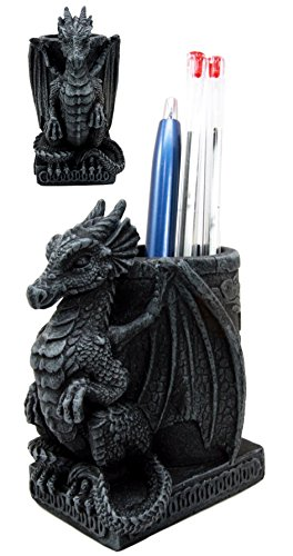 Holder Dragon (Atlantic Collectibles Medieval Fantasy Smaug Dragon Lord Office Desktop Stationery Pen Holder Figurine 4.75