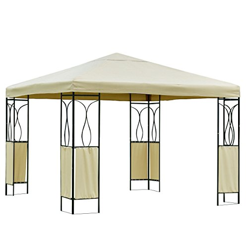 10'X10' Beige Gazebo Patio Canopy Tent Outdoor Wedding Shelter (Barn Style Portable Garage Canopy)
