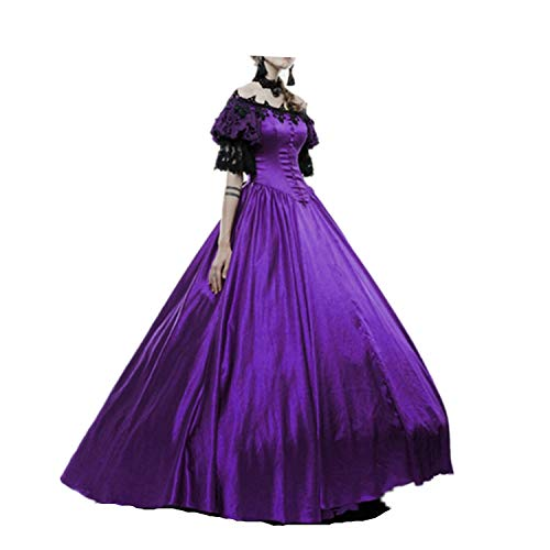 LY-VV Womens Marie Antoinette Rococo Ball Gown Gothic Victorian Dress Costume Purple