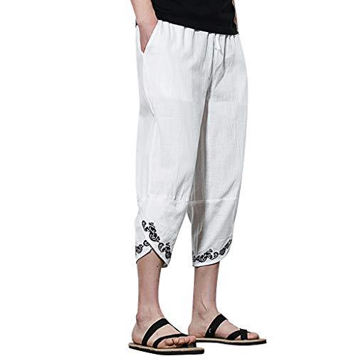 VEZAD Summer Men Casual Harem Pants Jogger Pants Fitness Linen Loose Trousers D White
