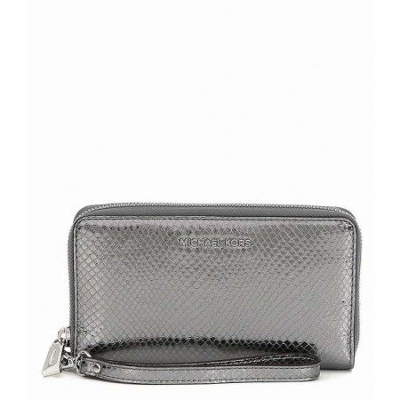 (Michael Kors Jet Set Metallic Snake-Embossed Leather Smartphone Light Pewter Metallic Wristlet Leather)