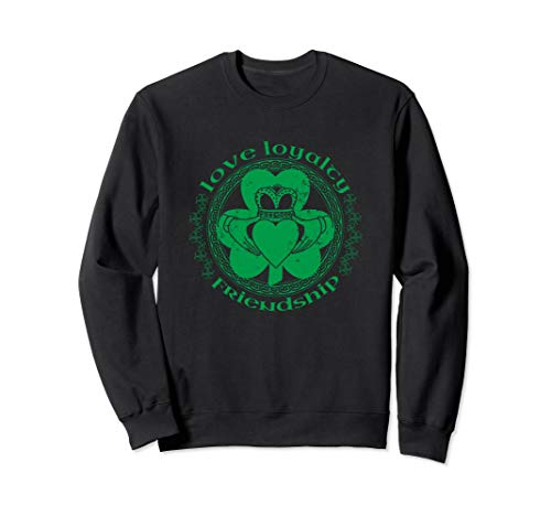 - Claddagh Irish Crown Hands Shamrock St Pattys Day Sweatshirt