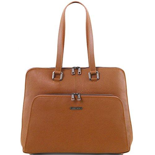 Tuscany Leather - Lucca - Maletín TL SMART en piel suave para mujer - TL141630 (Cognac) Cognac