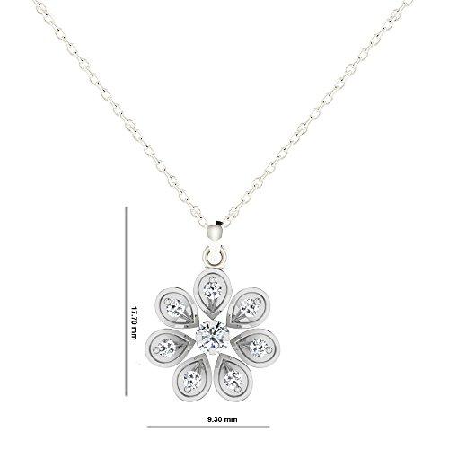 Libertini pendentif argent 925 femme serti de Diamant en forme de Fleur
