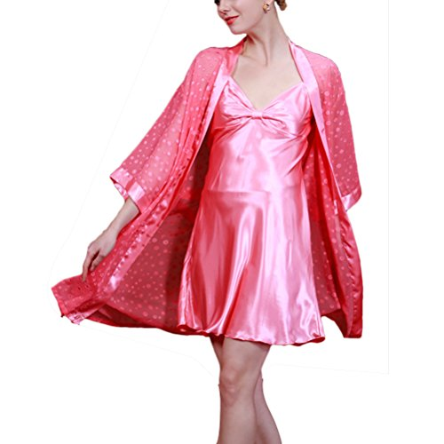 Zhhlinyuan Women Floral Long Satin Nightgown and Dressing Gown Set 7711 Watermelon Red