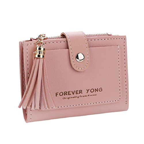 Purse Coin Handbag ShenPr Tassel Holders Zipper Card Short Wallet Letters Pink Women Clearance A0wqn8S6