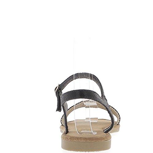 ChaussMoi Sandales Plates Noires Métallisées avec Large Bride Avant