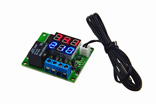 LM YN DC 12V Digital Thermostat Module -4℉ to + 212℉ Fahrenheit Temp Display Temperature Controller Board With 20A Relay Waterproof Sensor Probe Dual LED Display Red + Blue