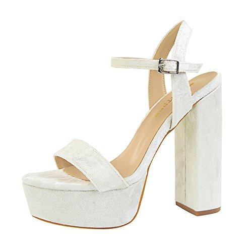 z&dw Elegante talón sexy super alta impermeable tabla de terciopelo con sandalias Blanco