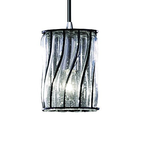 Justice Design Group Lighting WGL-8815-10-SWCB-CROM-BKCD Wire Glass Collection-Mini 1-Light Pendant-Cylinder with Flat Rim Shade Swirl with Clear Bubbles, Polished (Crom Mini)