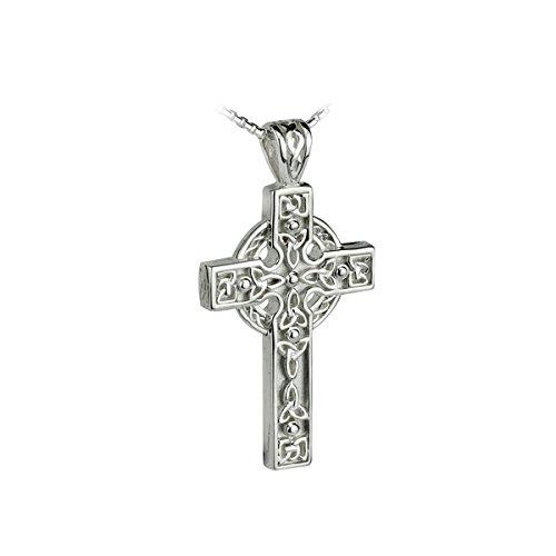 Solvar Trinity Knot Celtic Cross Necklace Sterling Silver Irish Made in Gift Box (Celtic Cross Pendant Sterling)