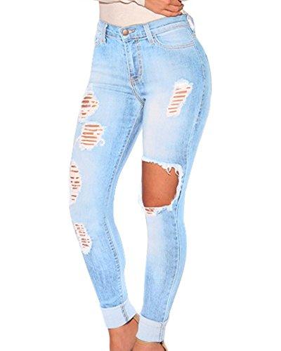 La Para Como Mezclilla Rotos Clásicos Mujeres Imagen Vaqueros Denim Skinny Pantalones De q87w5vS8nx