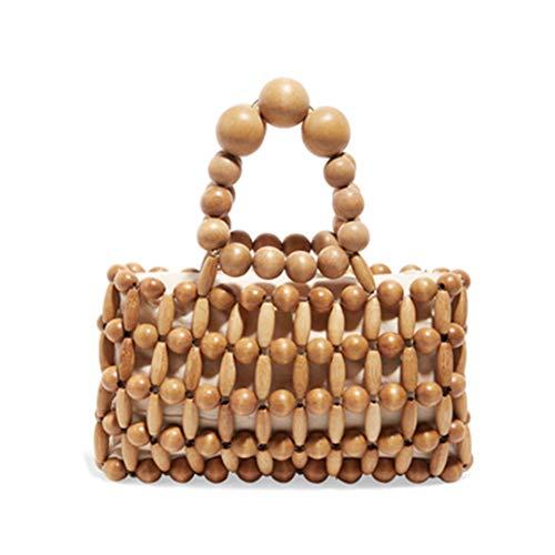 Bamboo Bag Beaded Woven Bag Lady Bags Wood color