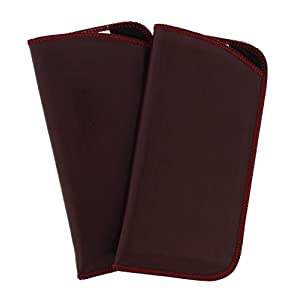 2 Pack Soft Faux Leather Slip In Eyeglass Case, Fits Medium to Large Frames, Burgundy