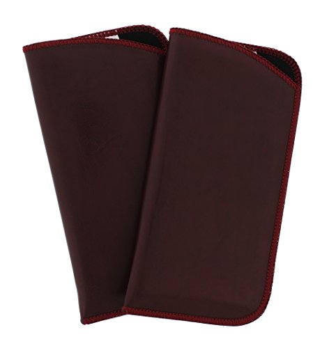 2 Pack Soft Faux Leather Slip In Eyeglass Case, Fits Medium to Large Frames, Burgundy by Ear Mitts