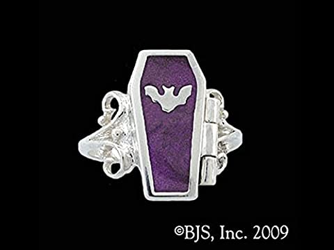 Gothic Night Bat Hidden Chamber Opening Coffin Ring with Plum Enamel in Sterling Silver (Sterling Silver Coffin Ring)