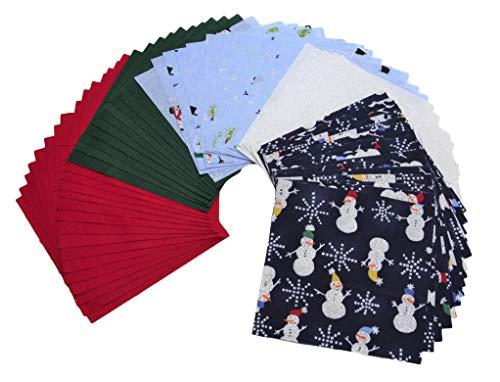 Snowman Charm Pack - DIE Cut - Charm Packs for Quilting - Fabric Charm Packs - Precut Fabric - Quilt Fabric - 100% Quilting Cotton - Quilting Fabrics - Quilt Kit (Snowman)