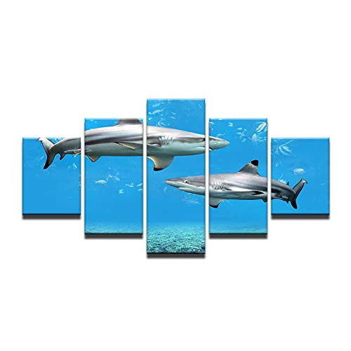 40x60 40x80 40x100cm No Frame Canvas Painting Frame Art Print Poster Wall 5 Panel Animal The Shark Picture Home Decor Canvas for Living Room Modern Printing