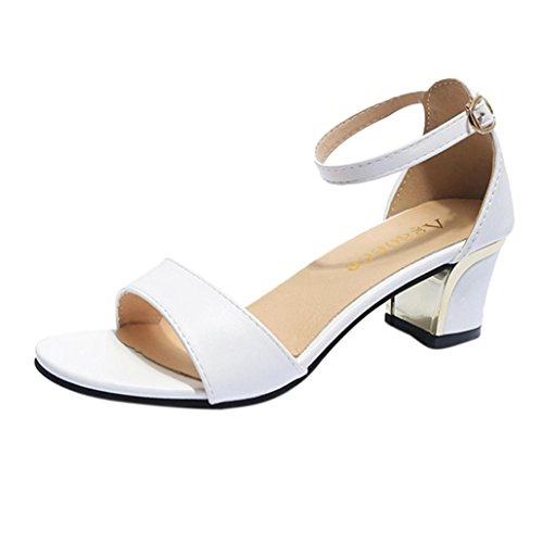 Tenworld Women's Ankle Strap Kitten Heel - Low Block Heel Dress Sandal (7.5, White)