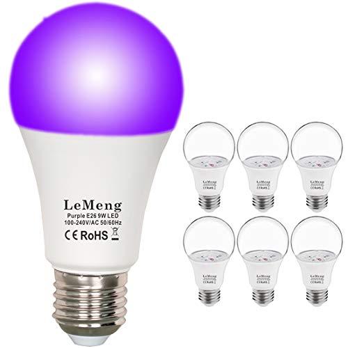 LeMeng UV LED Black Lights Bulb 9W Purple A19 (60W 75Watt Equivalent), E26 Medium Base 120V, UVA Level 395-400nm, Glow in The Dark for Blacklights Party, Body Paint, Fluorescent Poster- 6 Pack]()