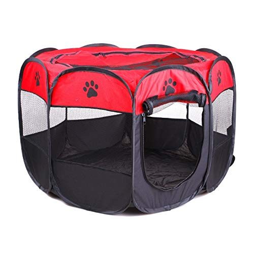 (Beds & mats - Portable Folding Pet Tent Dog House Cage Dog Cat Tent Playpen Puppy Kennel Easy Operation Octagonal Fence Outdoor Supplies)