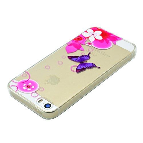 Hülle iPhone SE 5 / 5S, IJIA Ultra Dünnen Rosa Blumen Schmetterling TPU Weich Silikon Handyhülle Schutzhülle Handyhüllen Schale Cover Case Tasche für Apple iPhone SE 5 / 5S + 24K Gold Aufkleber