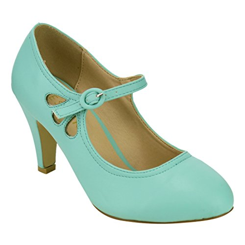 Sky SHOP Women's Retro Teardrop High Heel Hollow Out Mary Jane Dress Pumps Run One Size Small ( Color : MINT , Size : 6 )