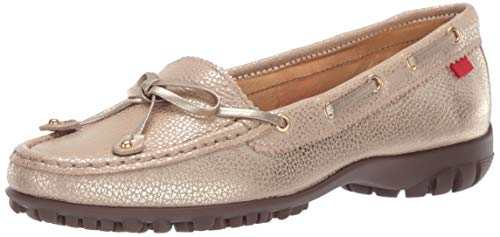 (Marc Joseph New York Womens Golf Genuine Leather Made in Brazil Cypress Hill Performance Loafer Moccasin, Gold/Metallic, 7.5 B(M) US)