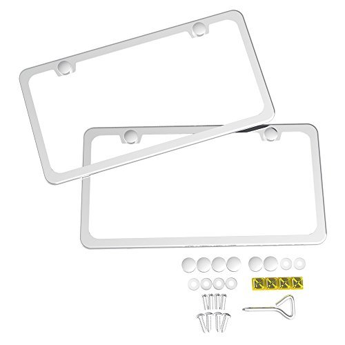 Ohuhu 2 PCS Slim Bottom License Plate Frames Polish Mirror Powder Coated Wont Block Letters/Stickers