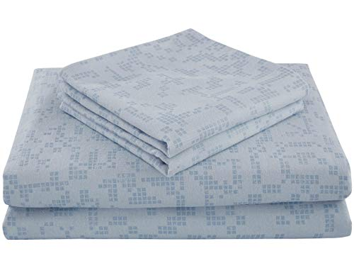 PHF Flannel Sheet Set 100% Cotton Printed 140 GSM Deep Pocket Bedding Warm 3-Piece Grid Pattern Queen Size Light Blue