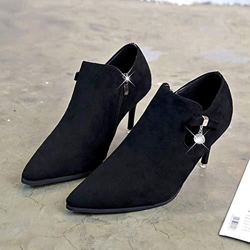 ZHZNVX Damen Stiefelie PU Herbst Minimalismus Stiefel Stiletto Heel Heel Heel Spitz Toe Stiefelies Stiefeletten Schwarz Khaki b76bd1