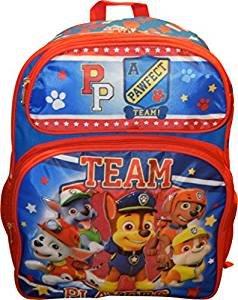 """Paw Patrol Nickelodeon Team Players Deluxe 3D Embossed 16"""" School Backpack"""