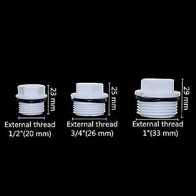 NO LOGO FSM-adaptadores 6pcs 1//2,3//4,1 Pulgadas Rosca Macho del Enchufe de Tubo de PVC est/ándar Europeo Tornillo tap/ón del Tubo Caps Montaje Extremo del Tubo Accesorios de fontaner/ía 6 Piezas