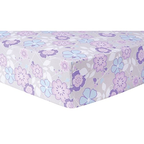 Trend Lab Grace Floral Fitted Crib Sheet, Purple, Blue, Gray and White -