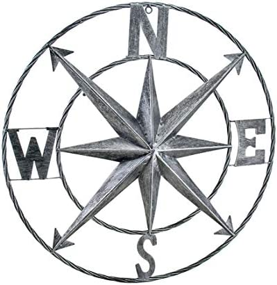 Zeckos Decorative Compass Rose Metal Wall Hanging