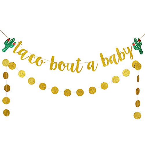 Gold Glittery Taco Bout A Baby Cactus Banner and Gold Glittery Circle Dots Garland- Mexican Fiesta Theme Baby Shower Decoration -
