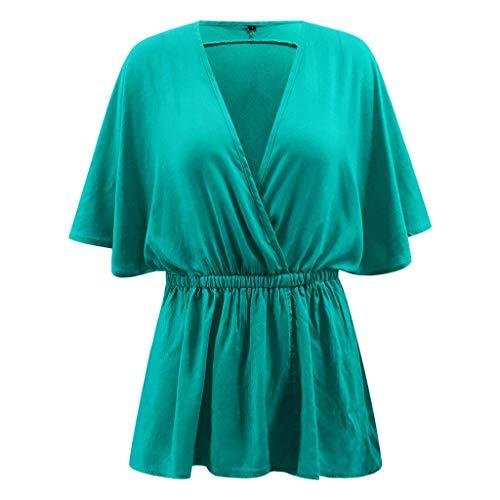 XLnuln Summer Women Solid Loose Batwing Sleeve V-Neck Shirt Top Casual Shirring Drape Hem T-Shirt Hipster Tees Green