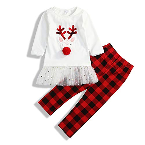 Little Girls Outfits Long Sleeve Fawn Tops + Red Plaid Pants Clothes Sets 2Pcs -