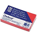 Oxford 7320CHE - Unruled Index Cards, 3 x 5, Cherry, 100/Pack
