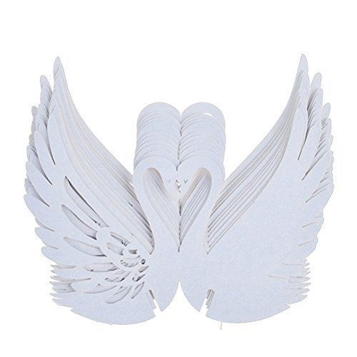 UEETEK 50pcs Wine Glass Card Swan Wedding Table Name Place Cards Birthday Party Decoration (White) (Wine Glass Ornaments)