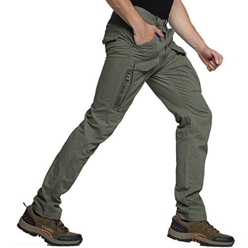 Mens Work Pants Outdoor Cotton Hiking Tactical Army Military Cargo Combat Casual Trouser Green 33 (Camo Cheap Pants Hunting)