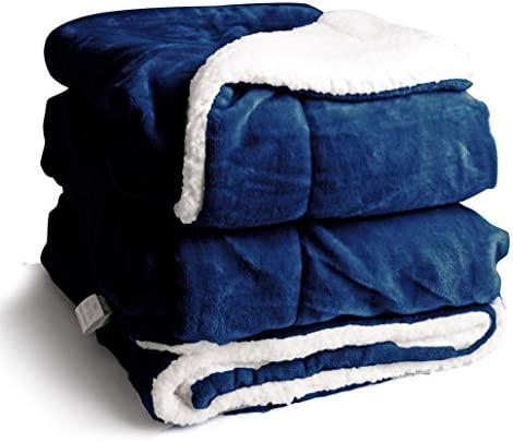 Edow Flannel Throw Blanket Thickened Reversible