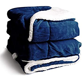 EDOW Faux Sherpa FlannelThrow Blanket, 600GSM Thickened Reversible Soft Fleece Blanket for Couch, Sofa, Bed. (Navy Blue, Twin(60