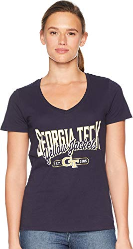 Champion College Women's Georgia Tech Yellow Jackets University V-Neck Tee Navy Large