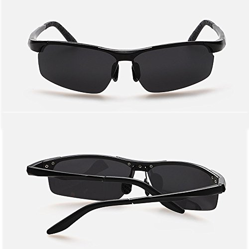 Outdoor Black grey Aluminum Riding Sunglasses Lens Frame Magnesium Men's Glasses Sunglasses Stand Polarized Sunglasses Fauhsto PxFqa5