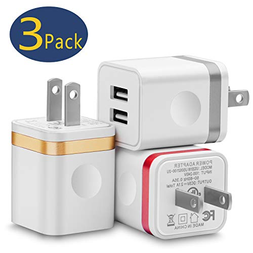 USB Wall Charger Plug, WITPRO Multi-Protection Dual Port Power Adapter Charging Block Compatible with iPhone, iPad, LG, Moto Android Cell Phone 3-Pack (Red/Gold/Gray)