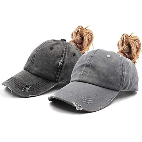 2 Pack Distressed Ponytail Vintage Cap Cotton Dad Hat Adjustable Plain Cap Low Profile (Unconstructed)Messy High Bun Hat Ponycaps Adjustable Cotton Baseball Cap
