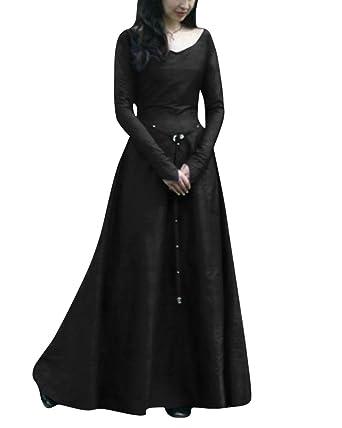 V Scollo Medievali Con Costumi Lunghe Maniche Femminili Gotico Abiti RwYqOBgR