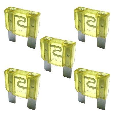 5 x Flat Fuse 20A MAXI - 32V / Yellow /